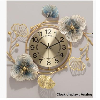 Modern Luxury  Leaf  Design Decorative Wall Clock for Living Room Home Kitchen Decor