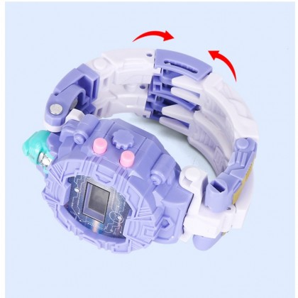 2 in 1 Super Hero Deformation Toy Electronic Display Creative Robot Toy Convert to Digital Wrist Watch For Kids