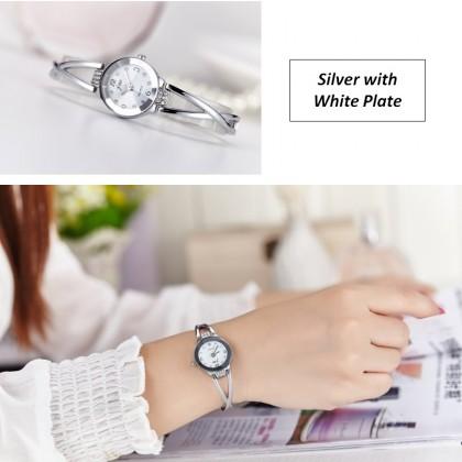 Quartz Ladies Elegant Silver Stainless Steel Strap Wrist Watch