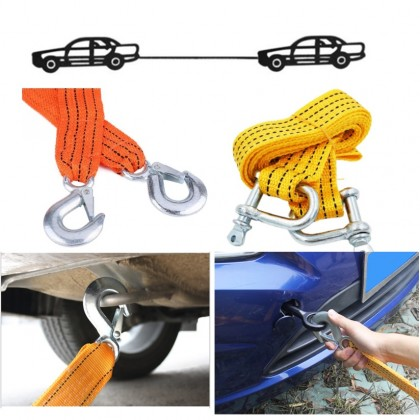 3 Metres Car Tow Rope with Metal Hook  Accessory Car Tow Cable Towing Pull Rope Emergency Vehicle Tool