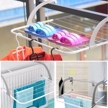 Big Size Fold-able Clothes Drying Rack Indoor Outdoor Balcony Bathroom Windowsill Corridor Hanger