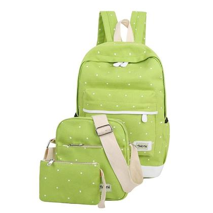 Japan Korean High Quality Polka Dot 3 in 1 Casual Backpack/ School Bag/ Travel Bag Canvas Bag
