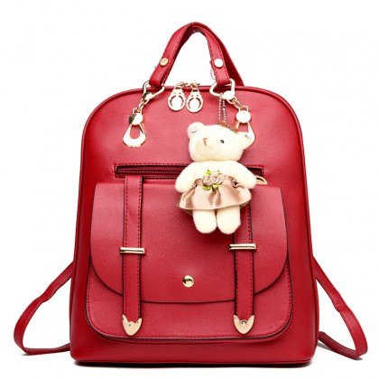 Retro Style PU Leather Ladies Casual Backpack Shoulder Bag